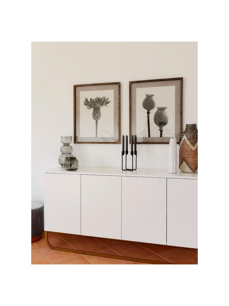 Komoda Sanford, Korpus: płyta pilśniowa średniej , Biały, odcienie złotego, S 160 x W 83 cm