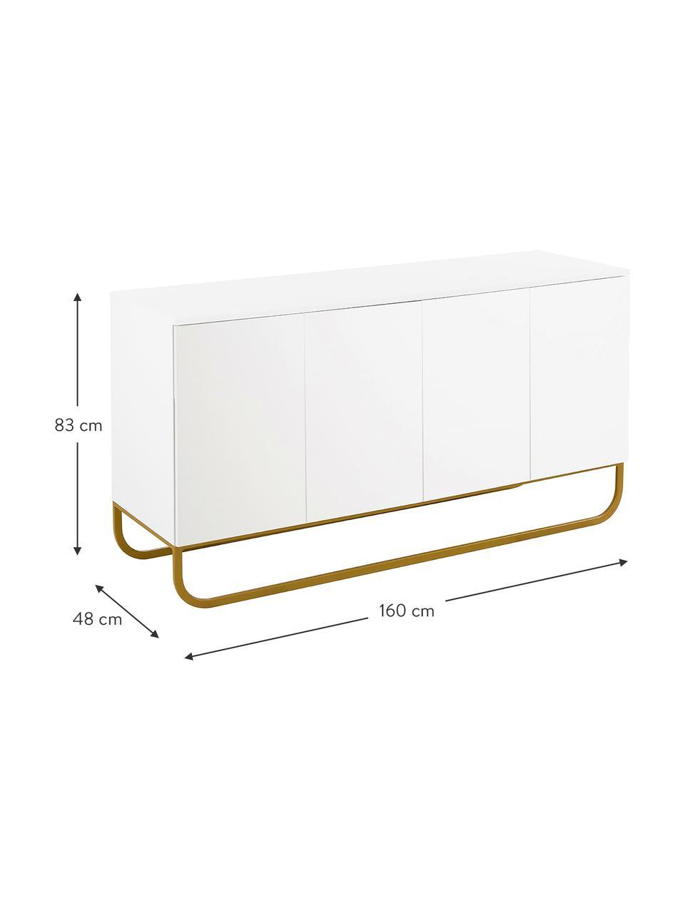 Klassisches Sideboard Sanford in Weiß mit Türen, Korpus: Mitteldichte Holzfaserpla, Fußgestell: Metall, pulverbeschichtet, Weiß, Goldfarben, 160 x 83 cm