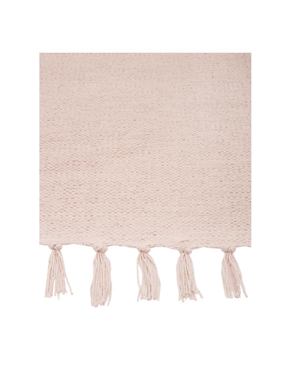Tappeto sottile in cotone rosa tessuto a mano Agneta, 100% cotone, Rosa, Larg. 120 x Lung. 180 cm (taglia S)