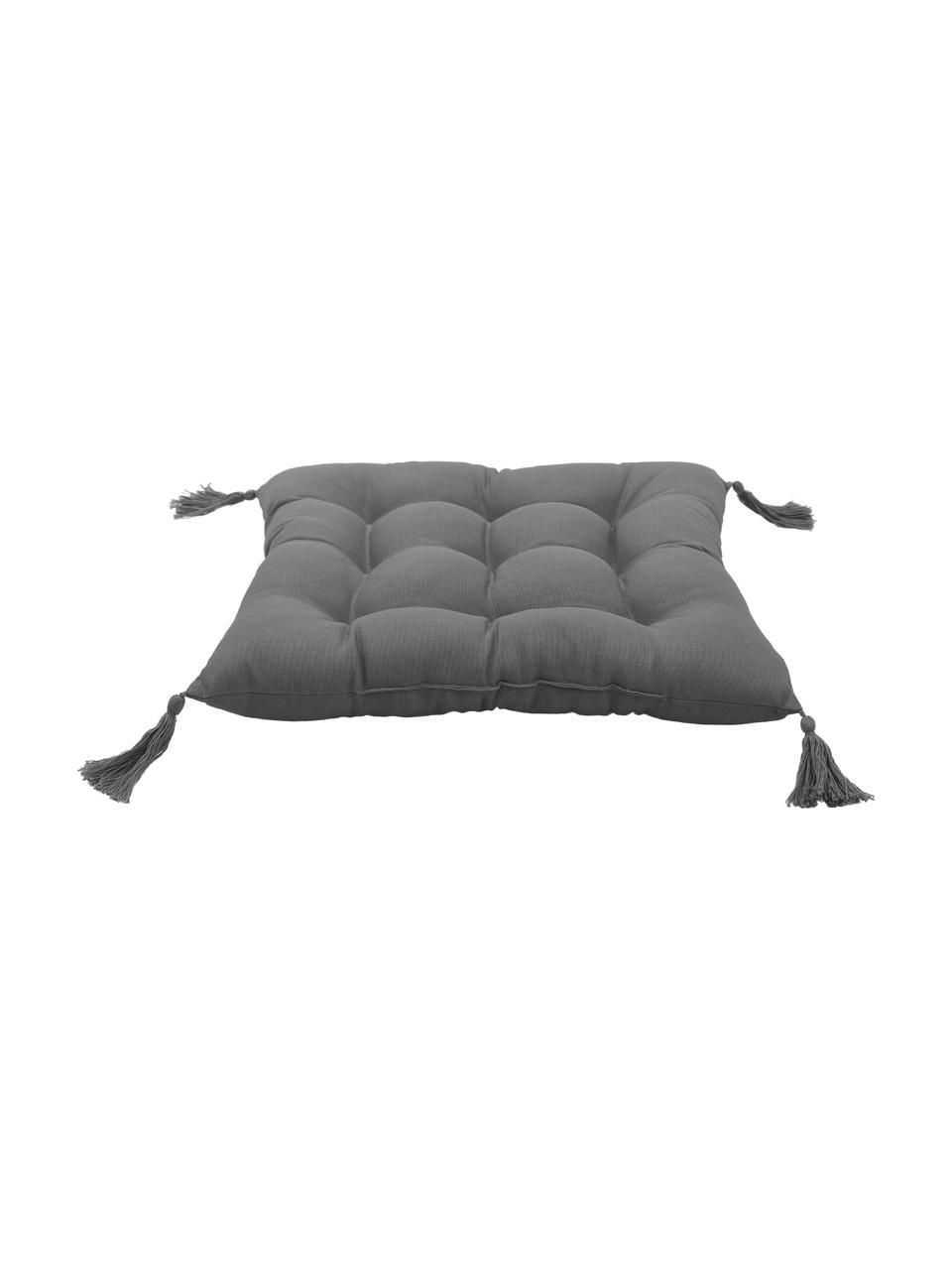 Sitzkissen Ava in Dunkelgrau mit Quasten, Bezug: 100% Baumwolle, Grau, 40 x 40 cm