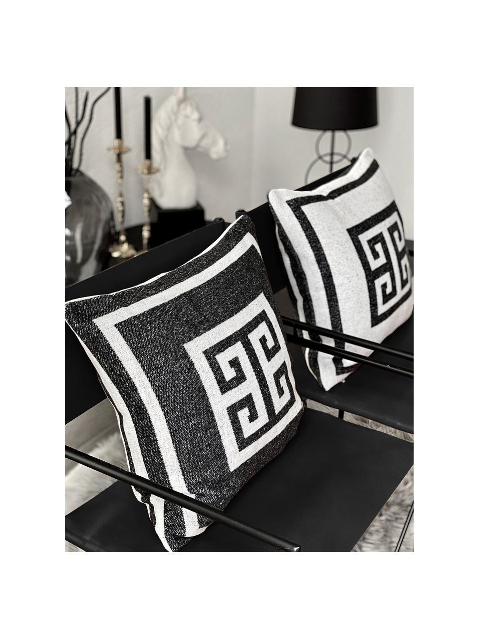 Housse de coussin 45x45 noir et blanc Lugano, Noir, blanc cassé