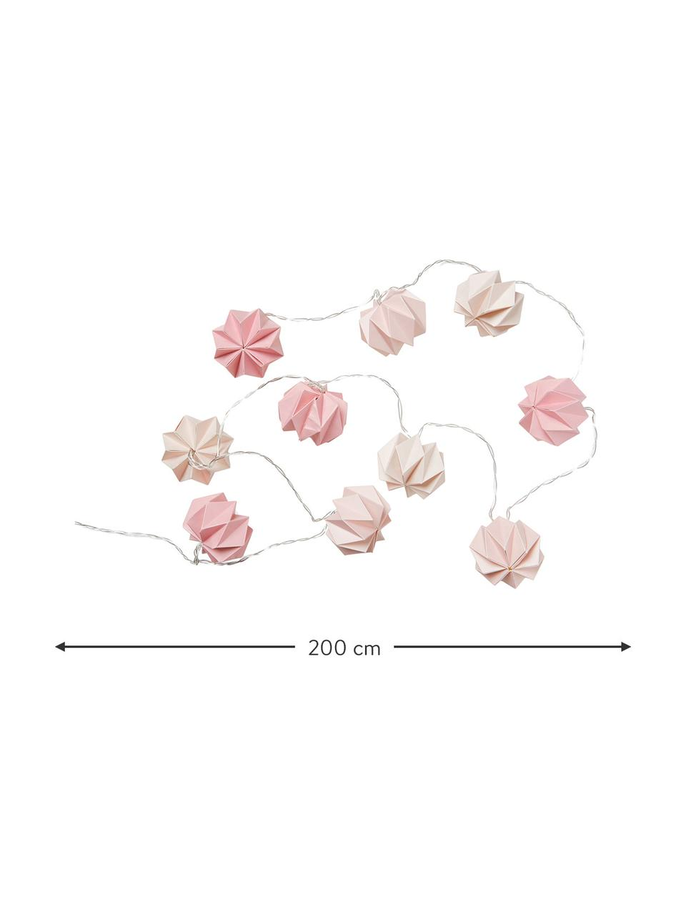 Lichterkette Origami, 200 cm, Papier, Rosatöne, L 200 cm