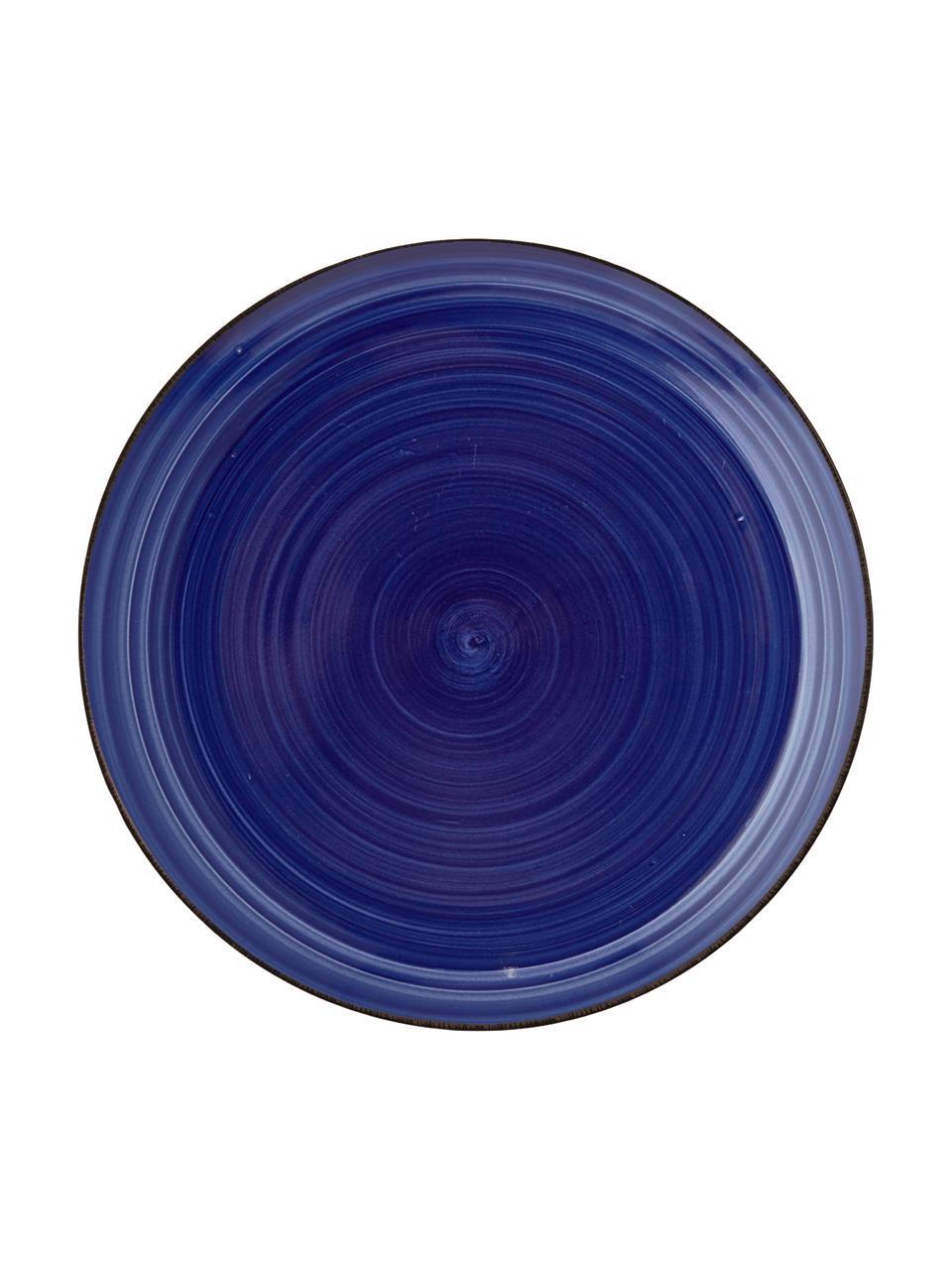 Set van 6 handbeschilderde ontbijtborden Baita in blauw, Handbeschilderde keramiek (hard dolomiet), Blauw, Ø 20 cm