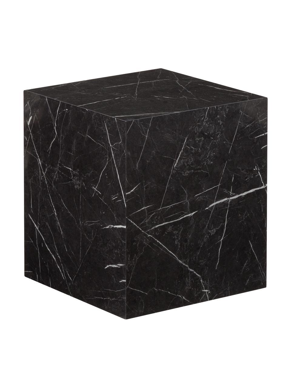Bijzettafel Lesley in marmerlook, MDF, bekleed met melaminefolie, Zwart, marmer-look, 45 x 50 cm