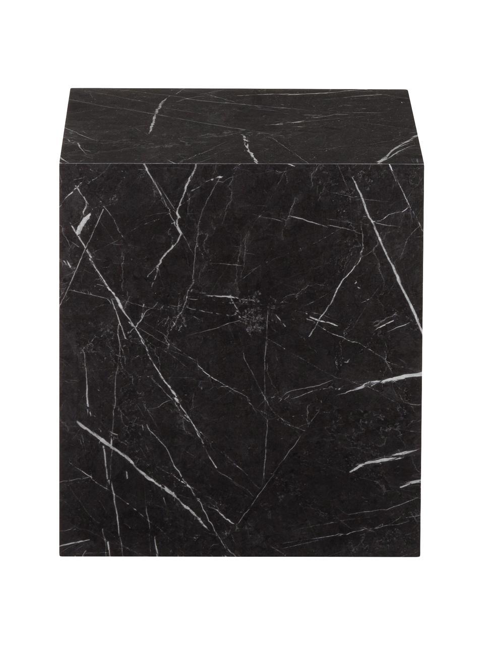 Mesa auxiliar en aspecto mármol Lesley, Tablero de fibras de densidad media(MDF), recubierto en melanina, Negro veteado brillante, An 45 x Al 50 cm