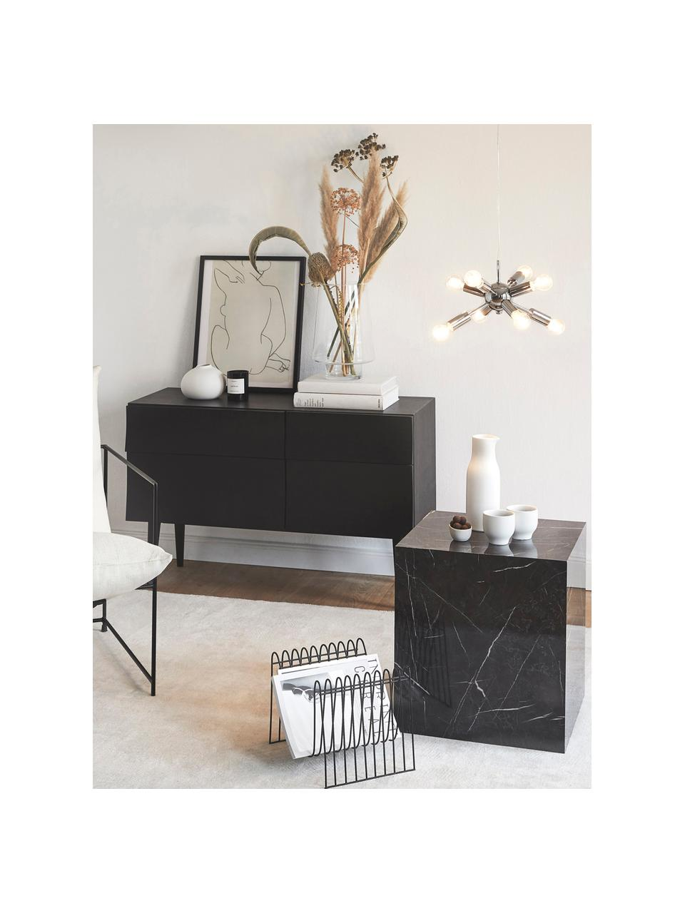 Tavolino quadrato effetto marmo Lesley, Pannello di fibra a media densità (MDF) rivestito con foglio di melamina, Nero marmorizzato, Larg. 45 x Alt. 50 cm