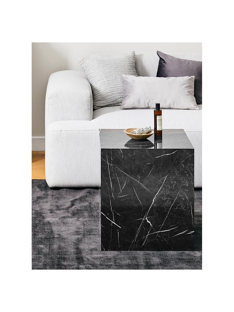 Tavolino quadrato effetto marmo Lesley, Pannello di fibra a media densità (MDF) rivestito con lamina di melamina, Nero effetto marmorizzato, Larg. 45 x Alt. 50 cm
