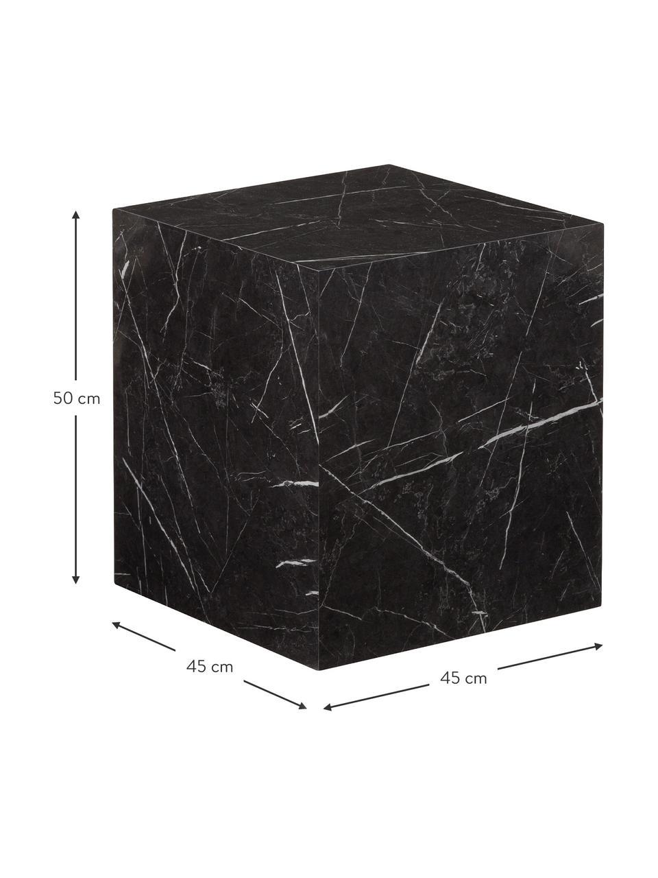 Beistelltisch Lesley in Marmor-Optik, Mitteldichte Holzfaserplatte (MDF), mit Melaminfolie überzogen, Schwarz, Marmor-Optik, 45 x 50 cm