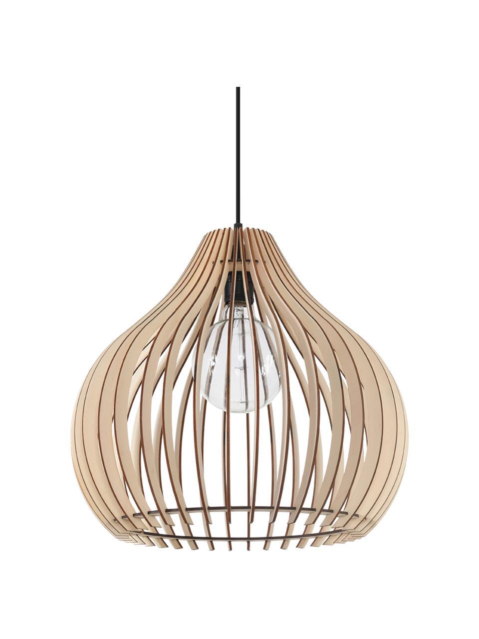 Lampada a sospensione in legno Pantilla, Paralume: legno, Baldacchino: materiale sintetico, Legno, nero, Ø 43 x Alt. 39 cm