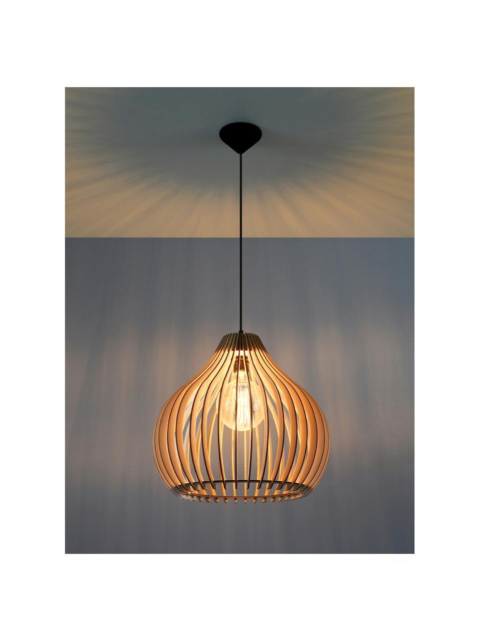 Pendelleuchte Pantilla aus Holz, Lampenschirm: Holz, Baldachin: Kunststoff, Braun, Schwarz, Ø 43 x H 39 cm