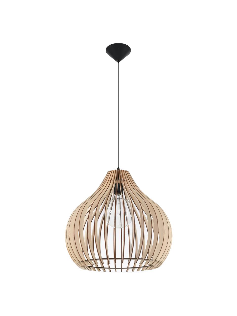 Hanglamp Pantilla van hout, Lampenkap: hout, Baldakijn: kunststof, Bruin, zwart, Ø 43 x H 39 cm
