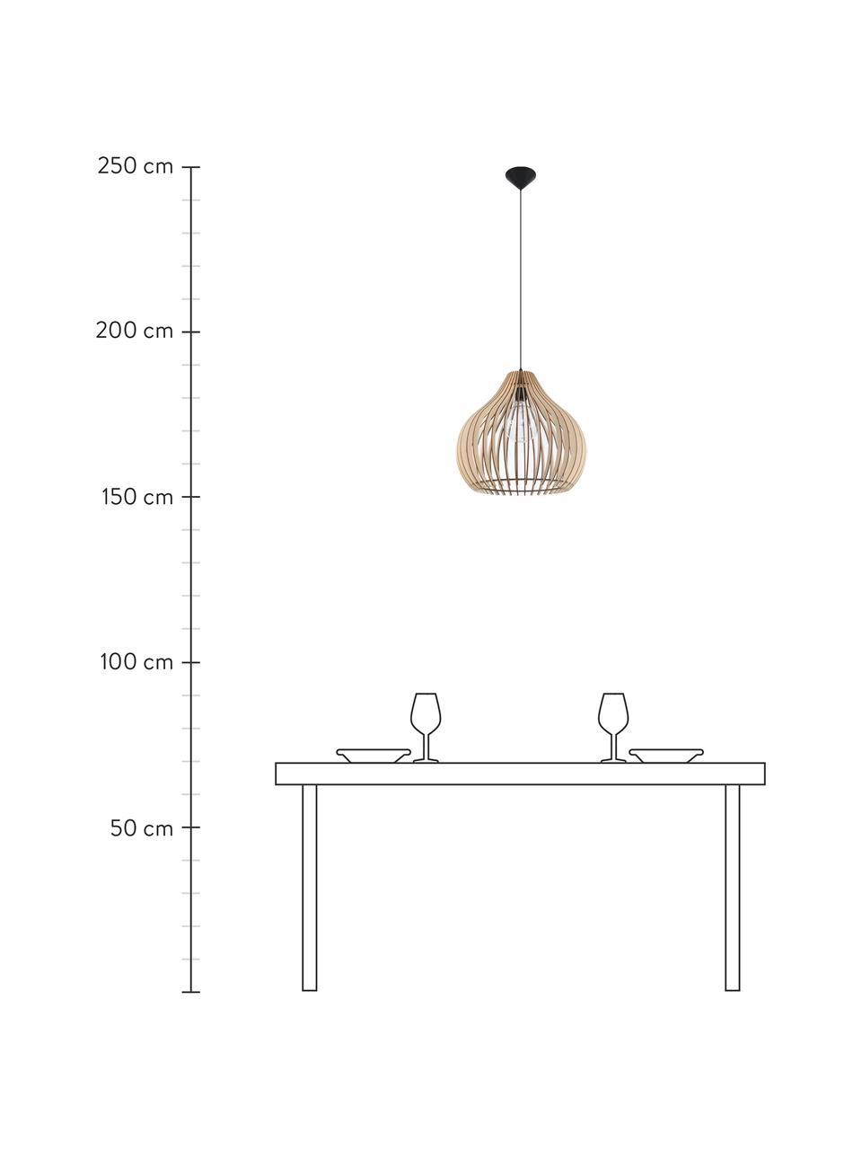 Lampa wisząca z drewna Pantilla, Brązowy, czarny, Ø 43 x W 39 cm