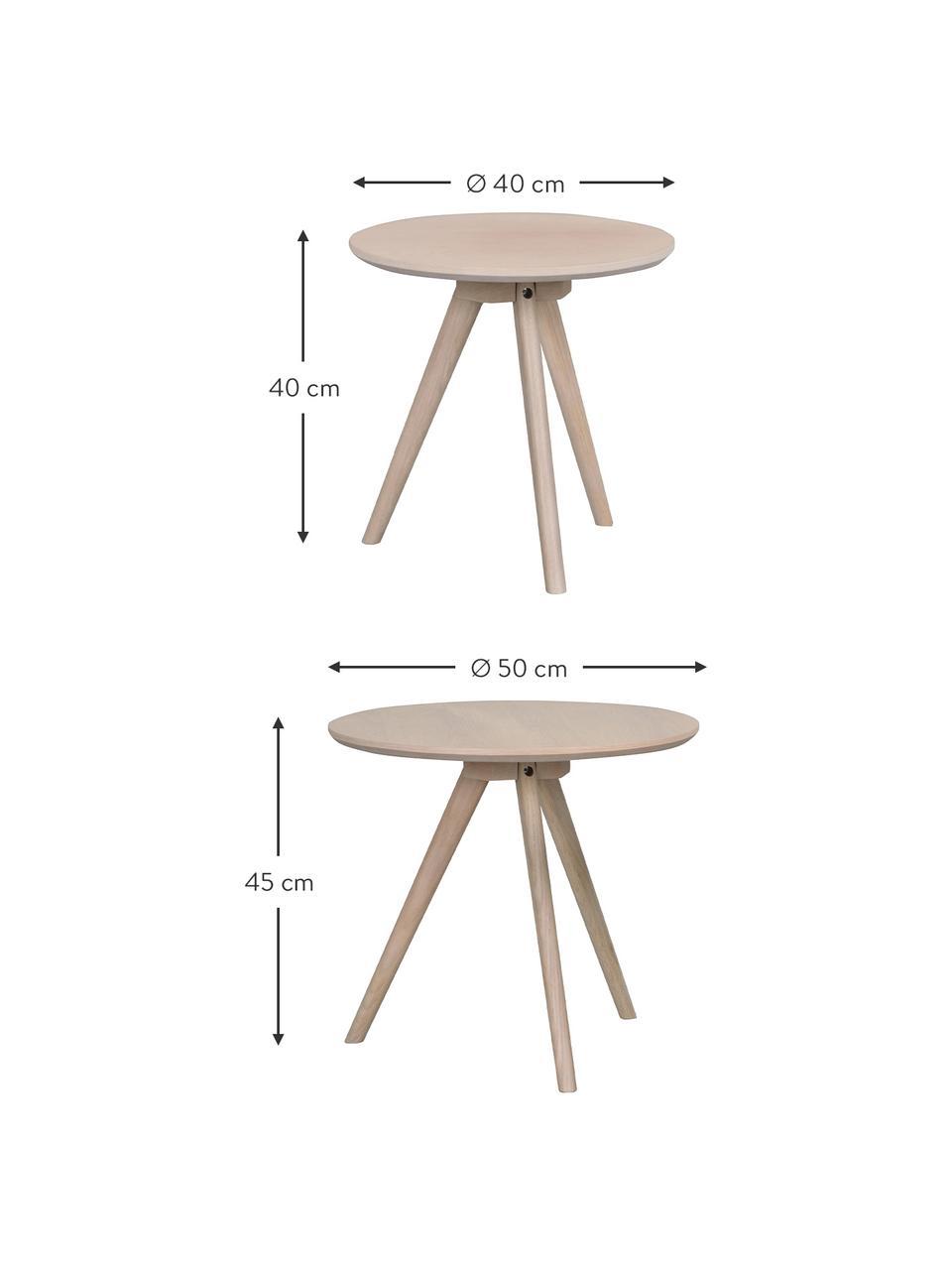 Beistelltisch-Set Yumi in Hellbraun, 2-tlg., Tischplatte: Mitteldichte Holzfaserpla, Beine: Eichenholz, massiv, Hellbraun, grau gewaschen, Set mit verschiedenen Größen