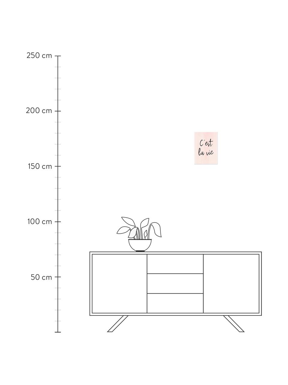 Poster C'est La Vie, Digitaldruck auf Papier, 200 g/m², Rosa, Schwarz, 30 x 42 cm