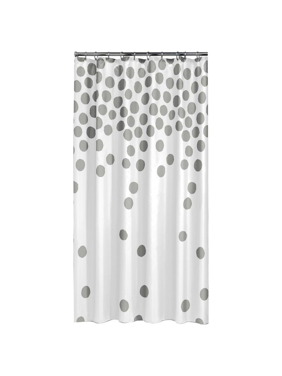 Rideau de douche à pois argentés Spots, Blanc, couleur argentée