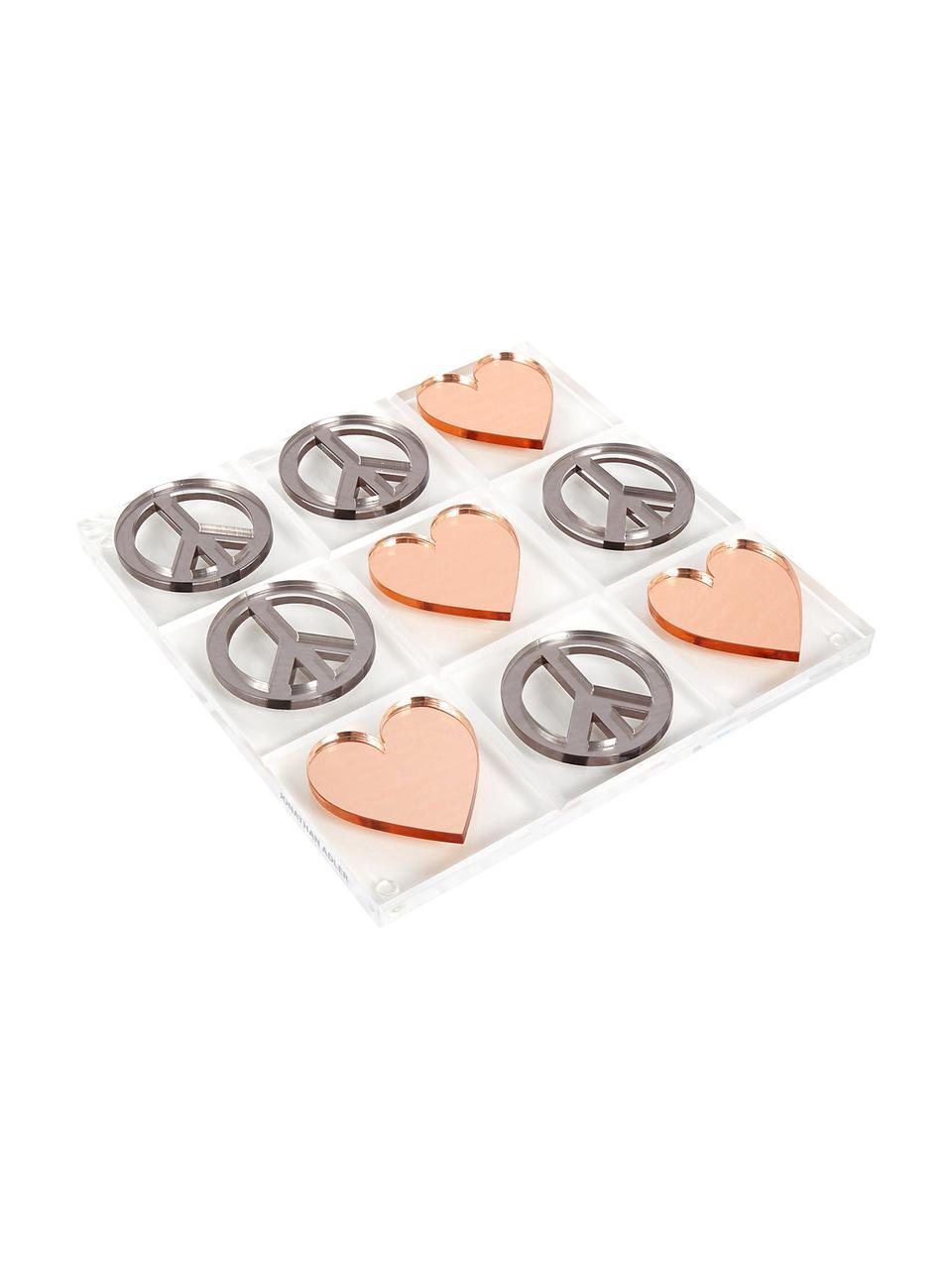 Gioco da tavolo Love & Peace Tic Tac Toe, 100% vetro acrilico, Elementi del gioco: argento e color rame Scheda di gioco: trasparente, P 26 x L 26 cm