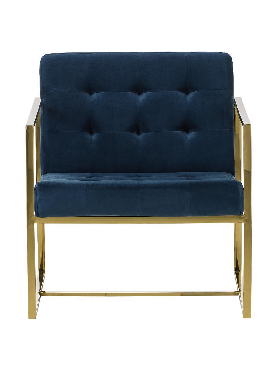 Fotel wypoczynkowy z aksamitu Manhattan, Tapicerka: aksamit (poliester) Dzięk, Aksamitny ciemnyniebieski, S 70 x G 72 cm