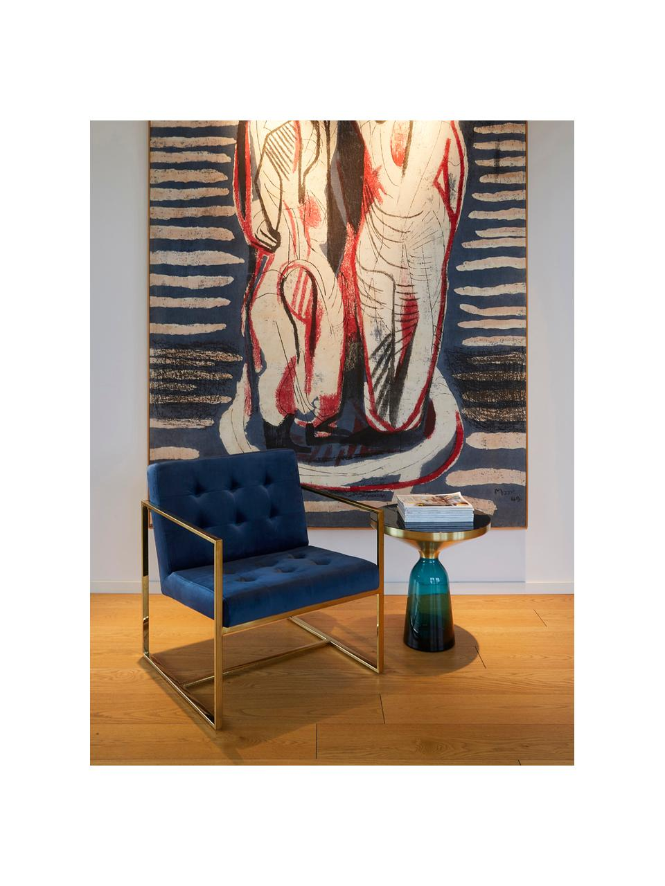 Fluwelen lounge fauteuil Manhattan in blauw, Bekleding: fluweel (polyester), Frame: gecoat metaal, Fluweel donkerblauw, B 70 x D 72 cm