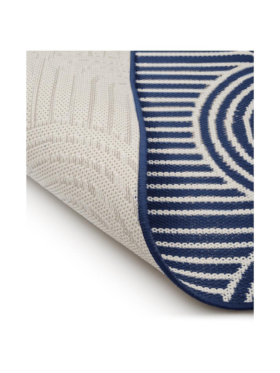 Passatoia da interno-esterno blu/bianco crema Arches, 86% polipropilene, 14% poliestere, Blu, bianco, Larg. 80 x Lung. 250 cm