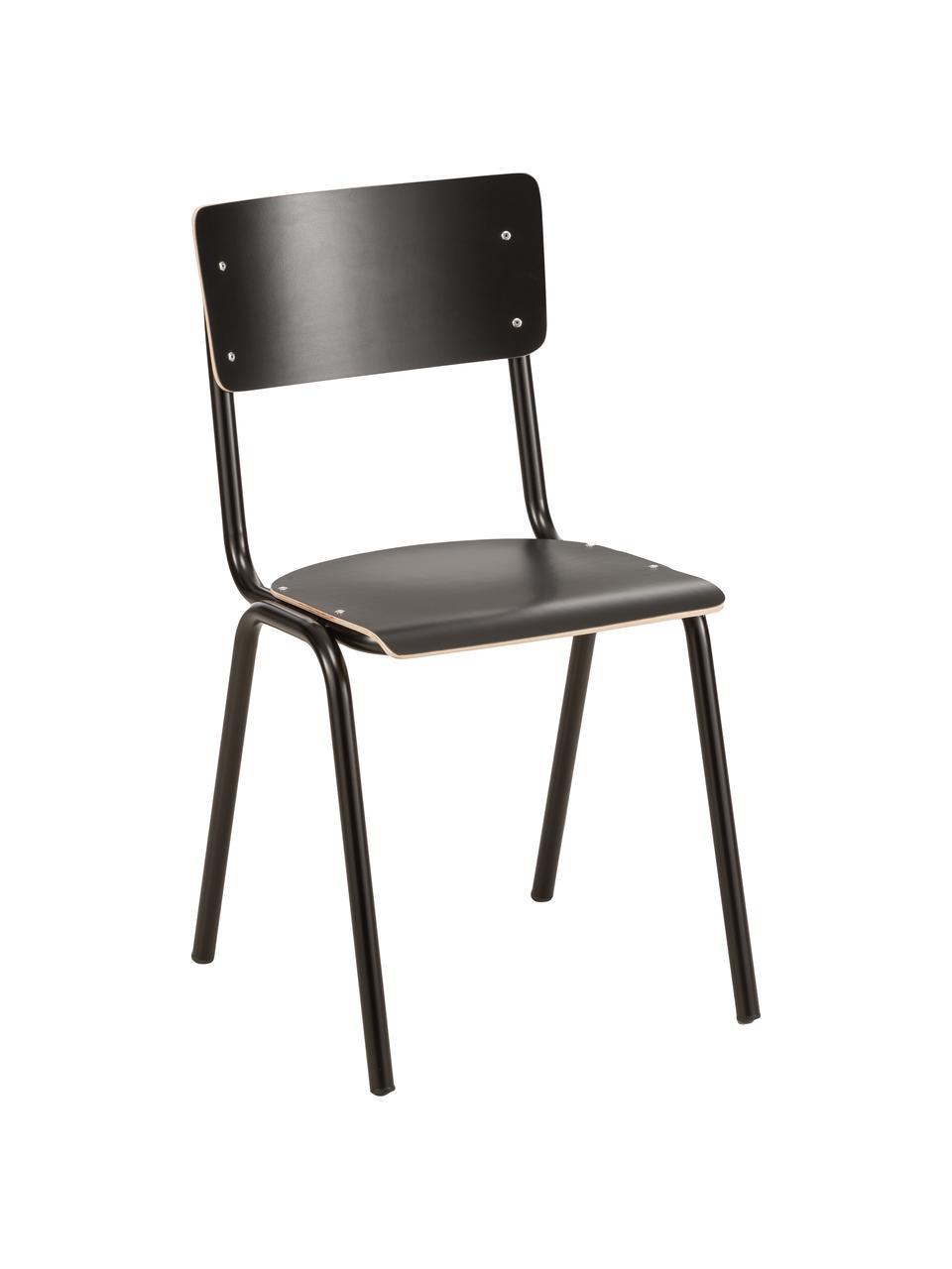 Sillas Back to School, 4uds., Patas: metal con pintado en polv, Asiento: laminado, Negro, An 43 x Al 47 cm