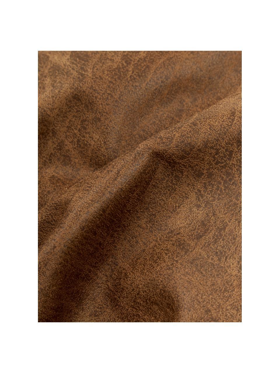 Bankkussen Lennon in bruin van gerecycled leer, Bekleding: gerecycled leer (70% leer, Bruin, 60 x 60 cm