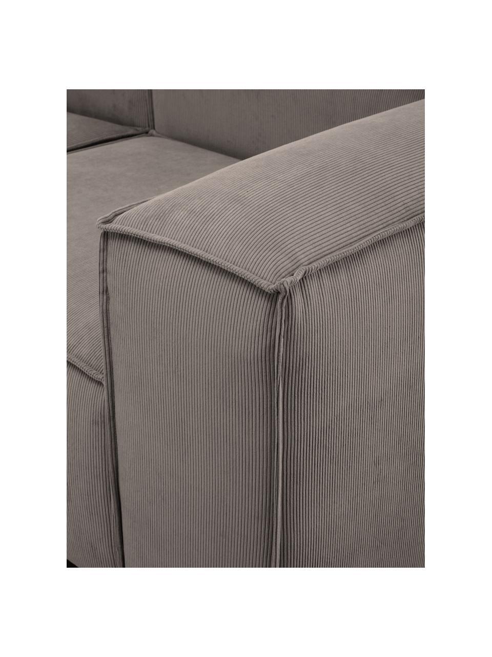Modulaire bank Lennon (3-zits) in bruin van corduroy, Bekleding: corduroy (92% polyester, , Frame: massief grenenhout, multi, Poten: kunststof De poten bevind, Corduroy bruin, 238 x 119 cm