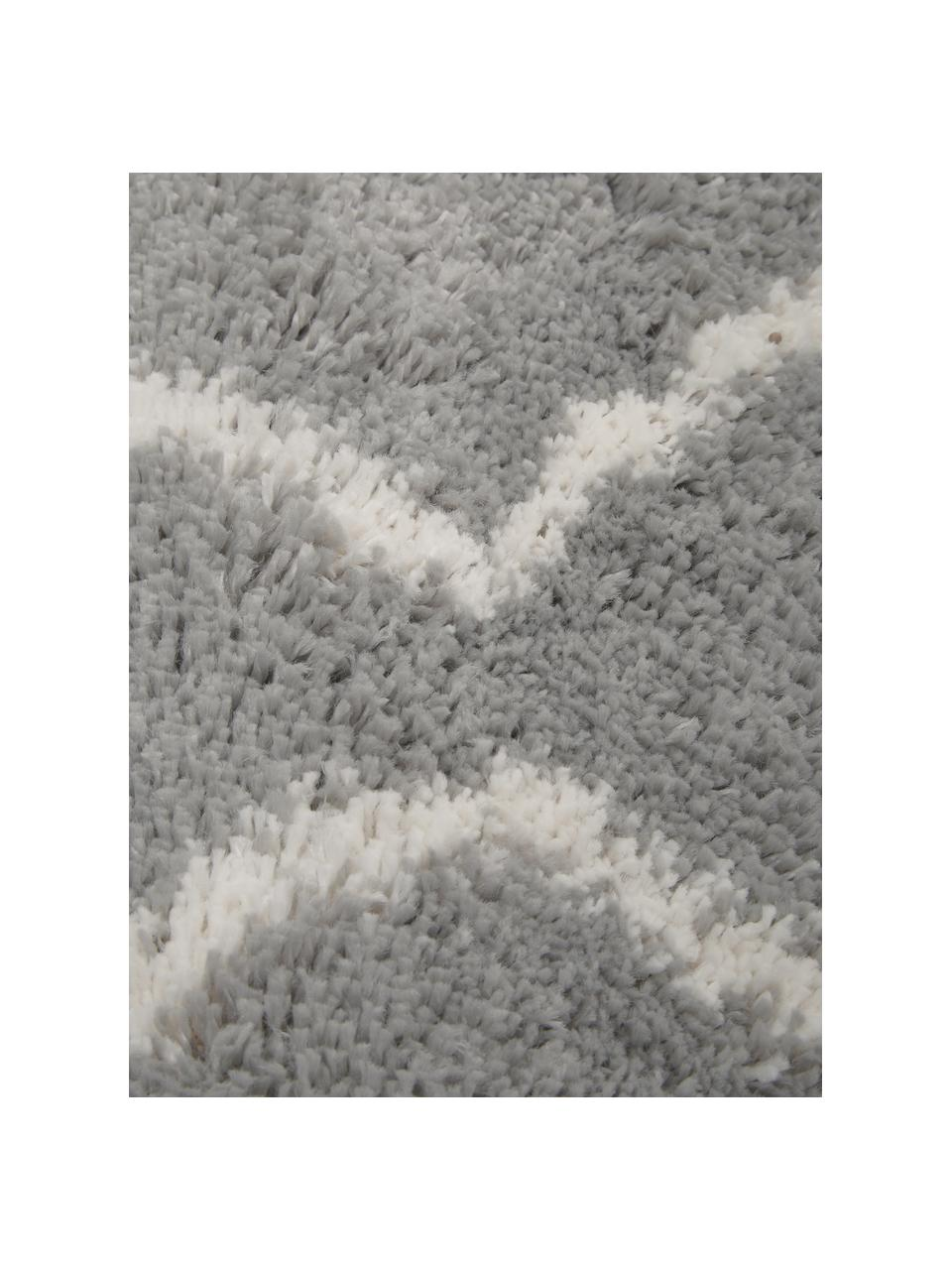 Passatoia a pelo lungo grigio/crema Velma, Retro: 78% juta, 14% cotone, 8% , Grigio, bianco crema, Larg. 80 x Lung. 250 cm