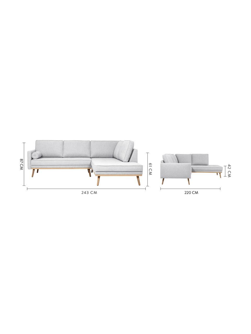 Sofa narożna z nogami z drewna dębowego Saint (3-osobowa), Tapicerka: poliester Dzięki tkaninie, Jasny szary, S 243 x G 220 cm