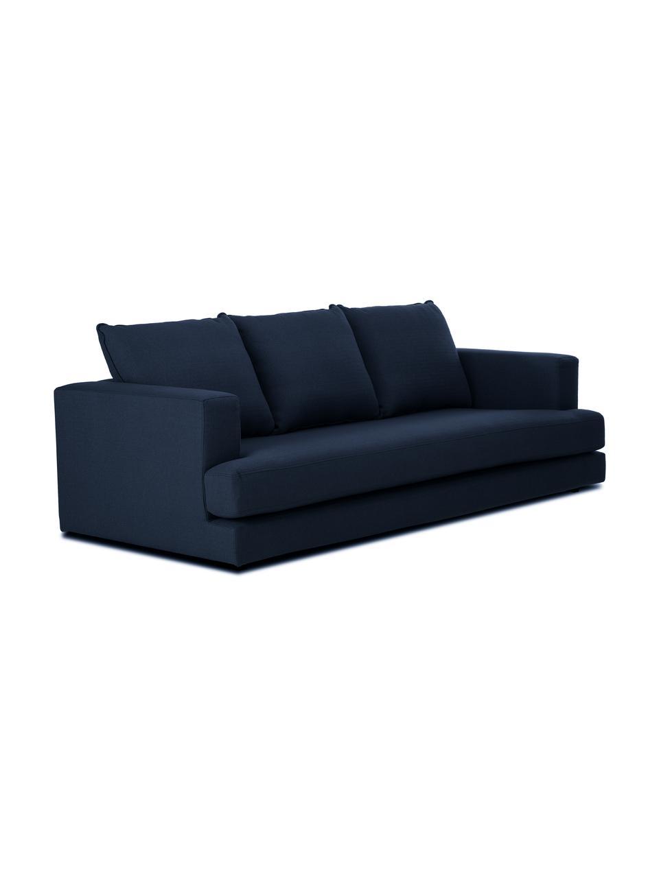 Sofa Tribeca (3-Sitzer) in Dunkelblau, Bezug: 100% Polyester Der hochwe, Gestell: Massives Buchenholz, Füße: Massives Buchenholz, lack, Webstoff Dunkelblau, B 228 x T 104 cm