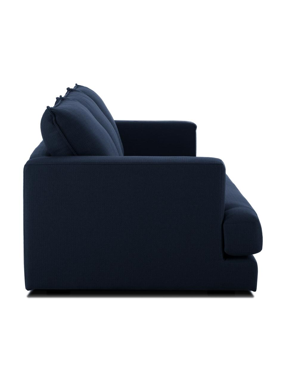 Sofa Tribeca (3-osobowa), Tapicerka: poliester Tkanina o odpor, Stelaż: lite drewno sosnowe, Nogi: lite drewno sosnowe, laki, Ciemny niebieski, S 228 x G 104 cm