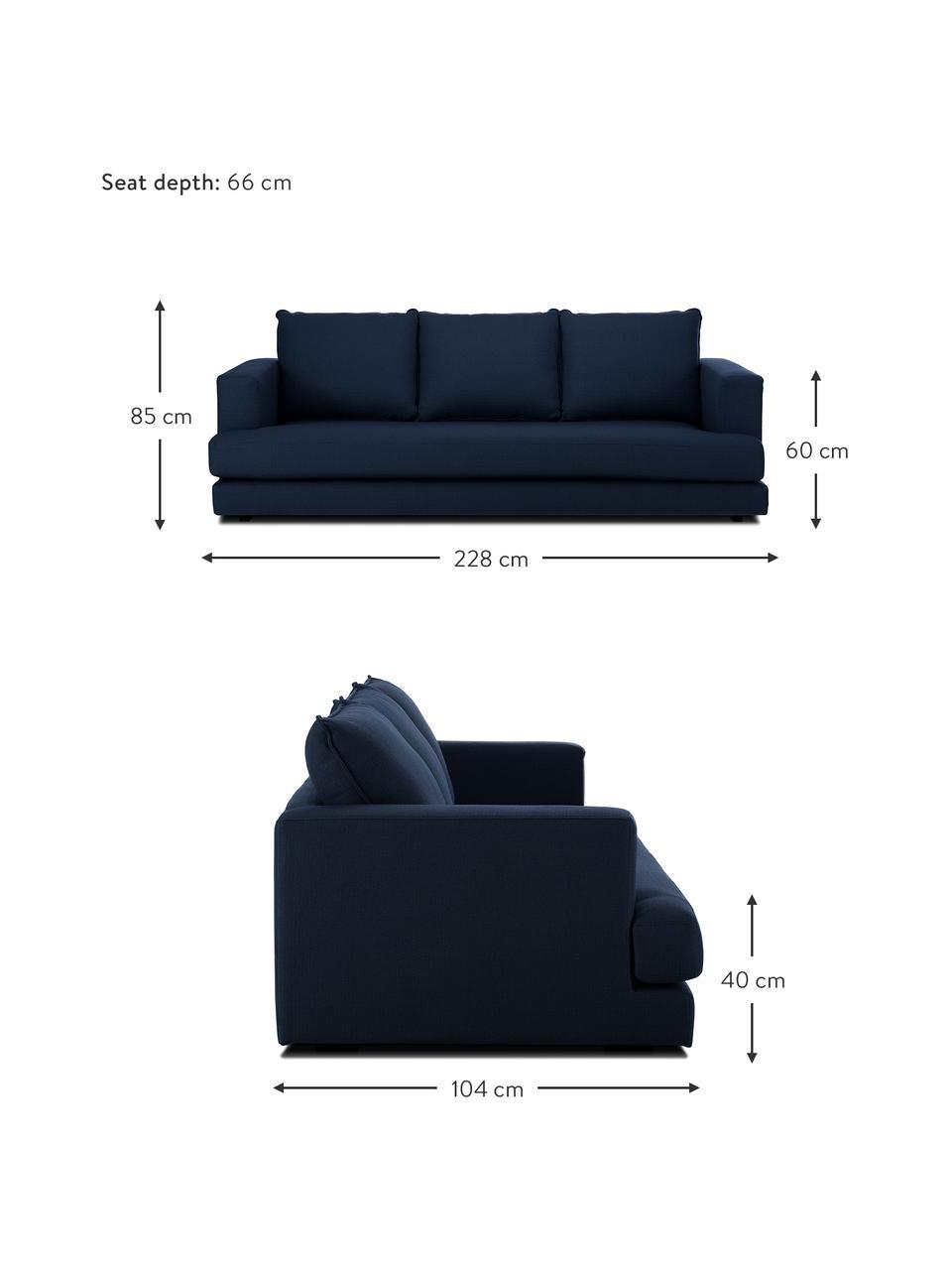 Bank Tribeca (3-zits) in donkerblauw, Bekleding: 100% polyester, Frame: massief beukenhout, Poten: massief gelakt beukenhout, Stof donkerblauw, 228 x 104 cm