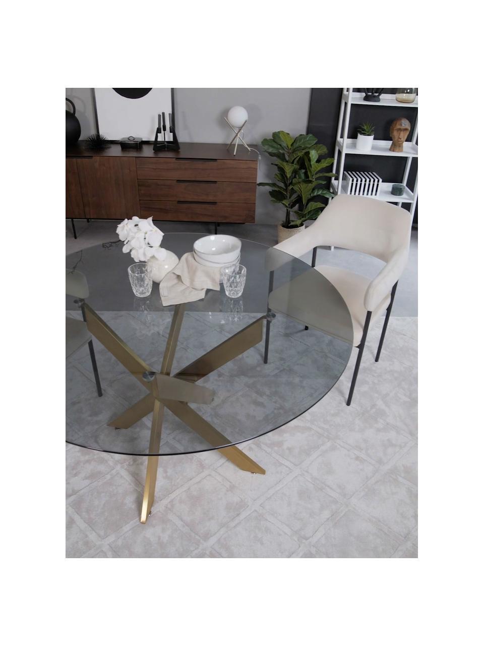 Tavolo con piano in vetro George, Piano d'appoggio: vetro colorato, Gambe: metallo verniciato a polv, Nero, ottone, Ø 120 x Alt. 75 cm