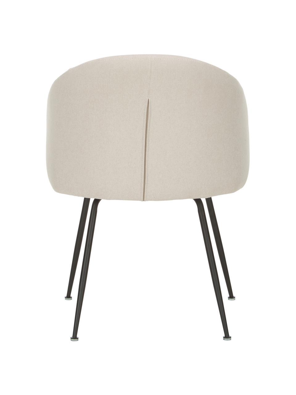 Gestoffeerde stoelen Luisa, 2 stuks, Bekleding: 100% polyester, Poten: gepoedercoat metaal, Geweven stof beige, zwart, 59 x 58 cm