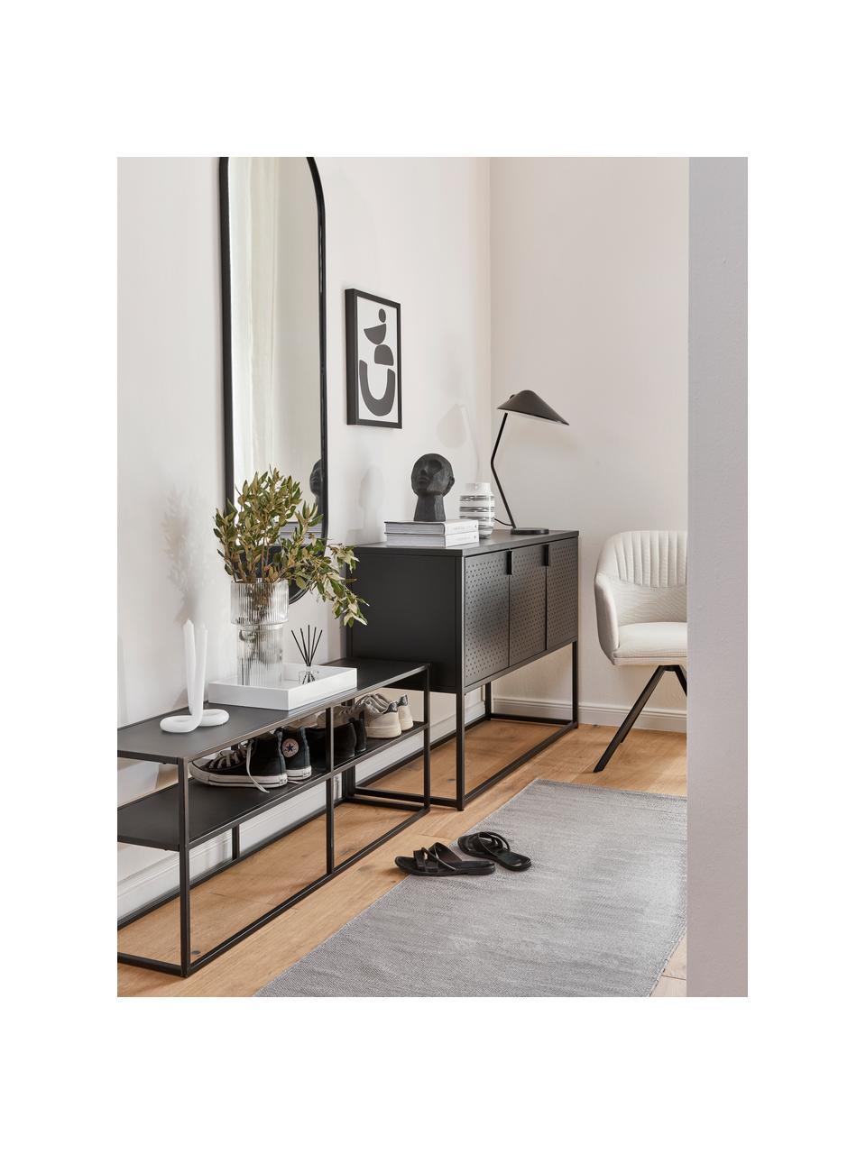 Metalen tv-meubel Neptun in zwart, Gepoedercoat metaal, Zwart, 120 x 46 cm