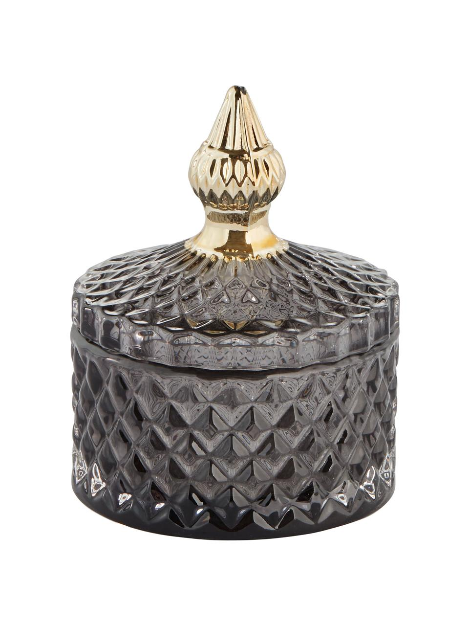 Contenitore con coperchio Miya, Vetro, Grigio scuro trasparente, dorato, Ø 9 x Alt. 11 cm