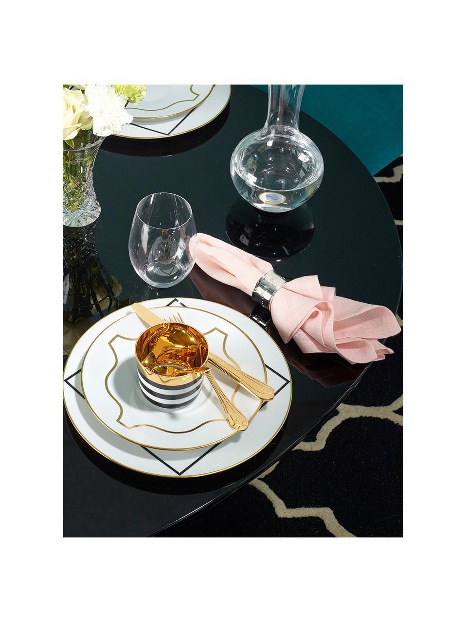 Pozłacany kubek do szampana z porcelany Sip of Gold, Czarny, biały, złoty, Ø 9 x W 7 cm