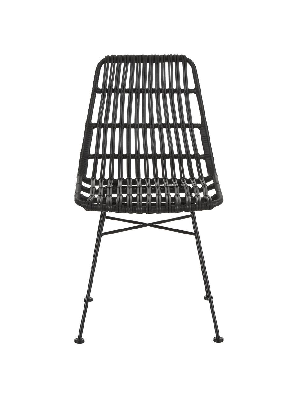 Polyrotan stoelen Costa, 2 stuks, Zitvlak: polyethyleen-vlechtwerk, Frame: gepoedercoat metaal, Zwart, zwart, B 47 x D 61 cm