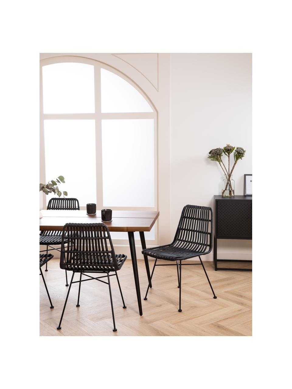 Krzesło z polirattanu Tulum, 2 szt., Stelaż: metal malowany proszkowo, Czarny, S 47 x G 61 cm