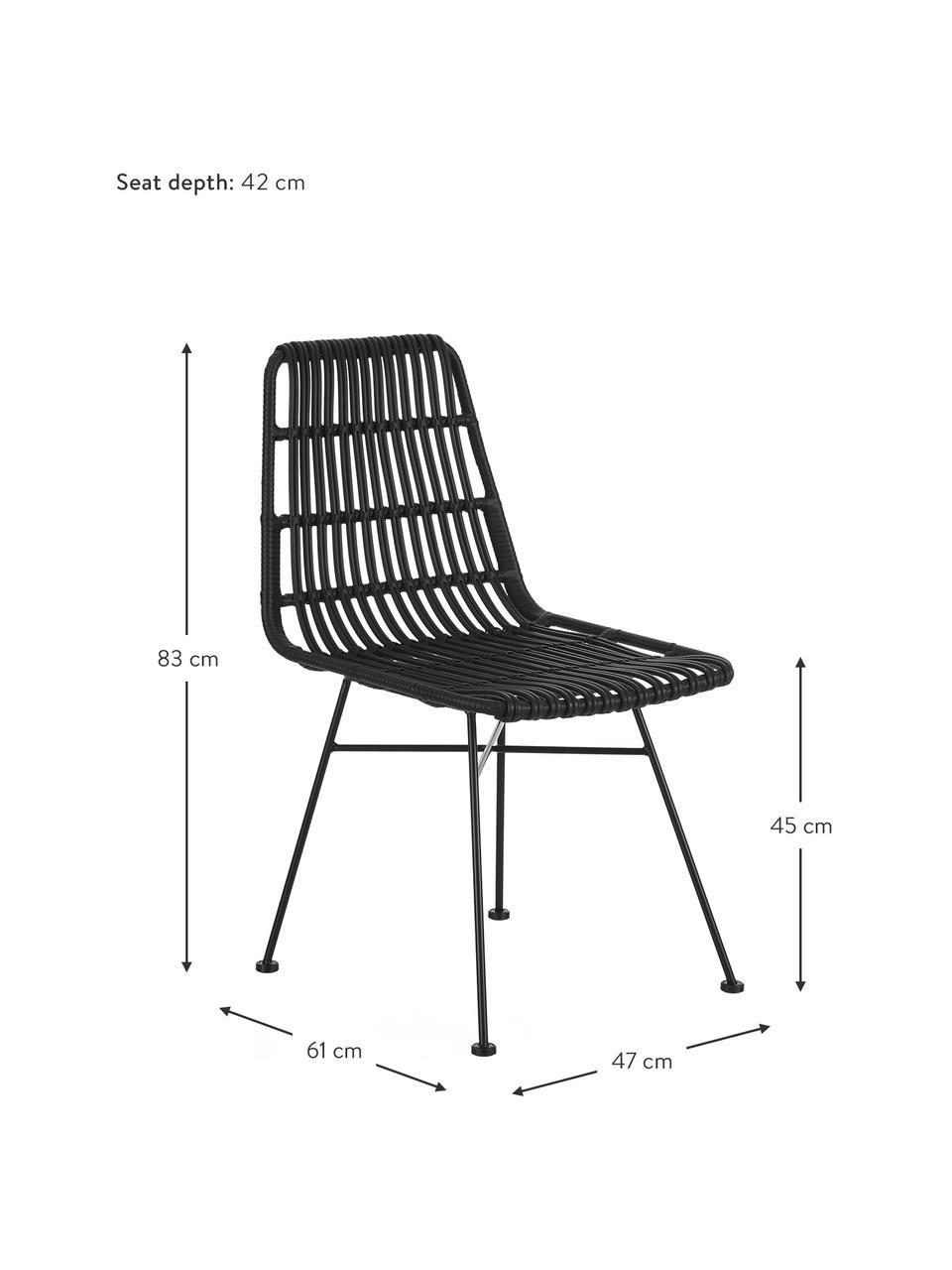 Sedia intrecciata Costa 2 pz, Seduta: intreccio in polietilene, Struttura: metallo verniciato a polv, Nero, Larg. 47 x Prof. 61 cm