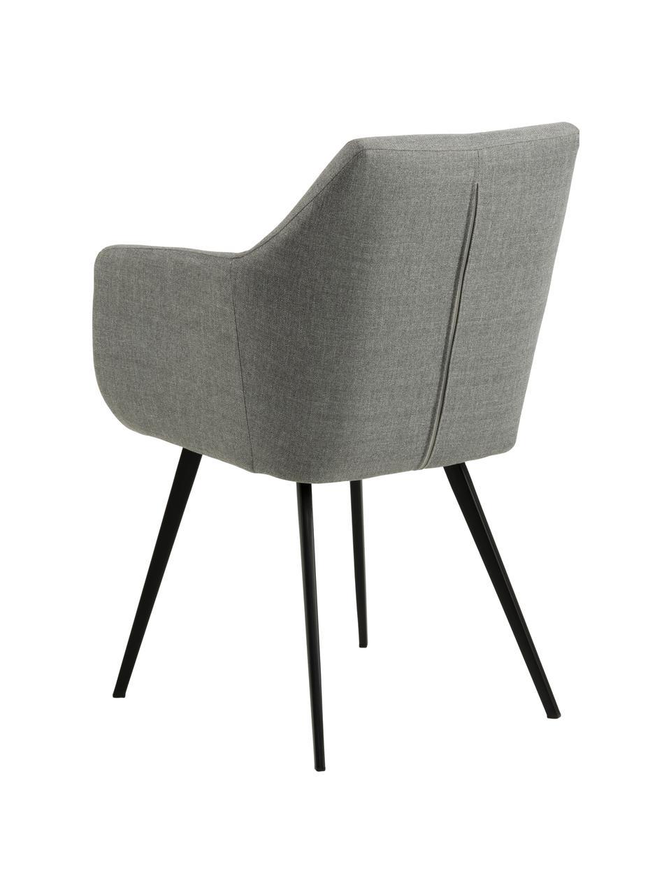 Sedia stile nordico con braccioli Nora, Rivestimento: 100% poliestere Il rivest, Gambe: metallo rivestito, Grigio chiaro, nero, Larg. 58 x Prof. 58 cm