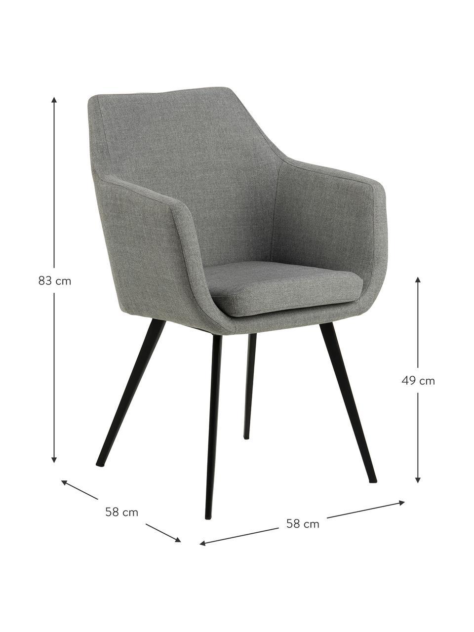 Krzesło z podłokietnikami Nora, Tapicerka: 100% poliester Dzięki tka, Nogi: metal powlekany, Jasny szary, czarny, S 58 x G 58 cm