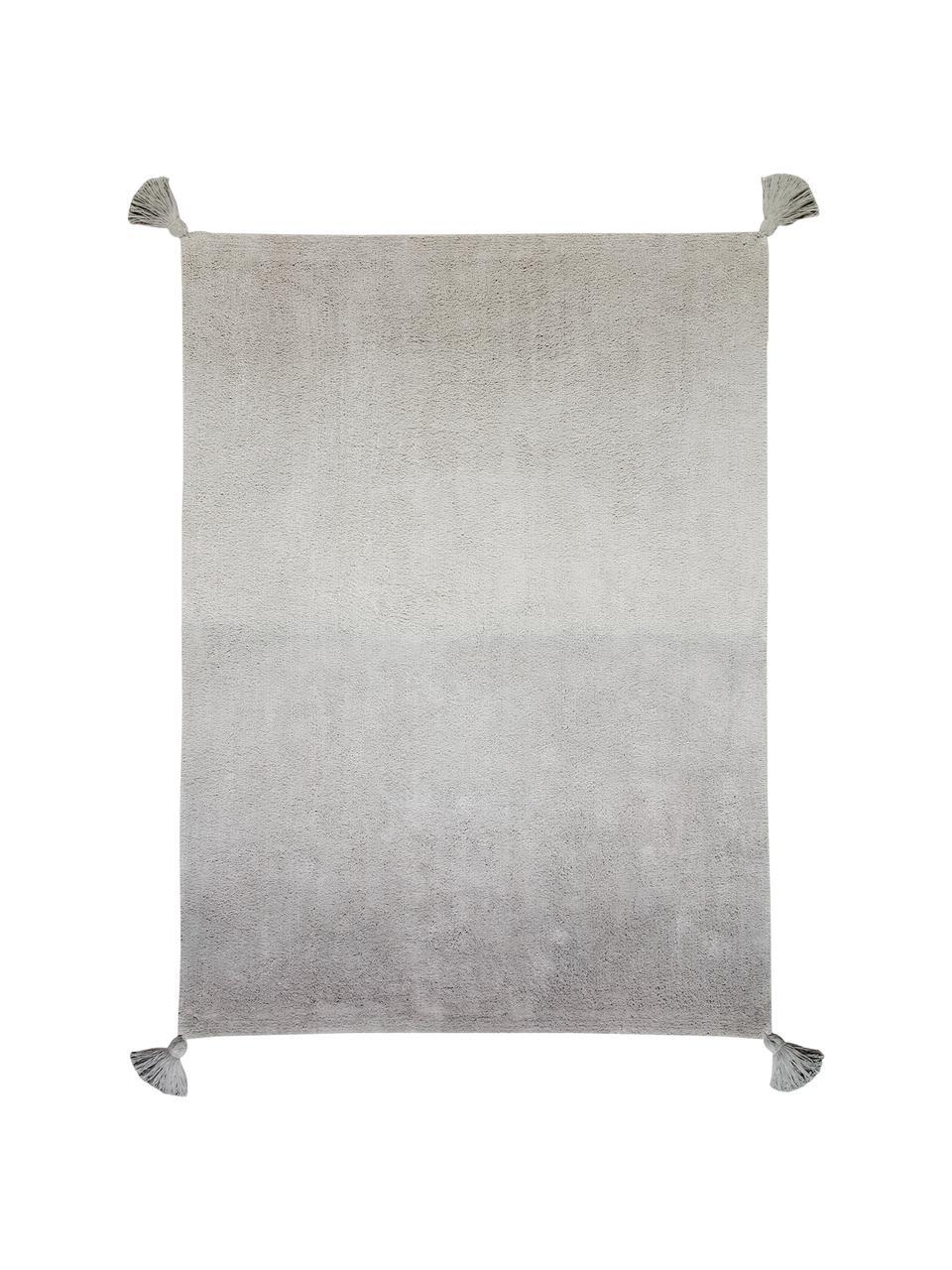 Waschbarer Baumwollteppich Degrade mit Quasten, Flor: 97% Baumwolle 3% Gemischt, Dunkelgrau, Hellgrau, B 120 x L 160 cm (Größe S)