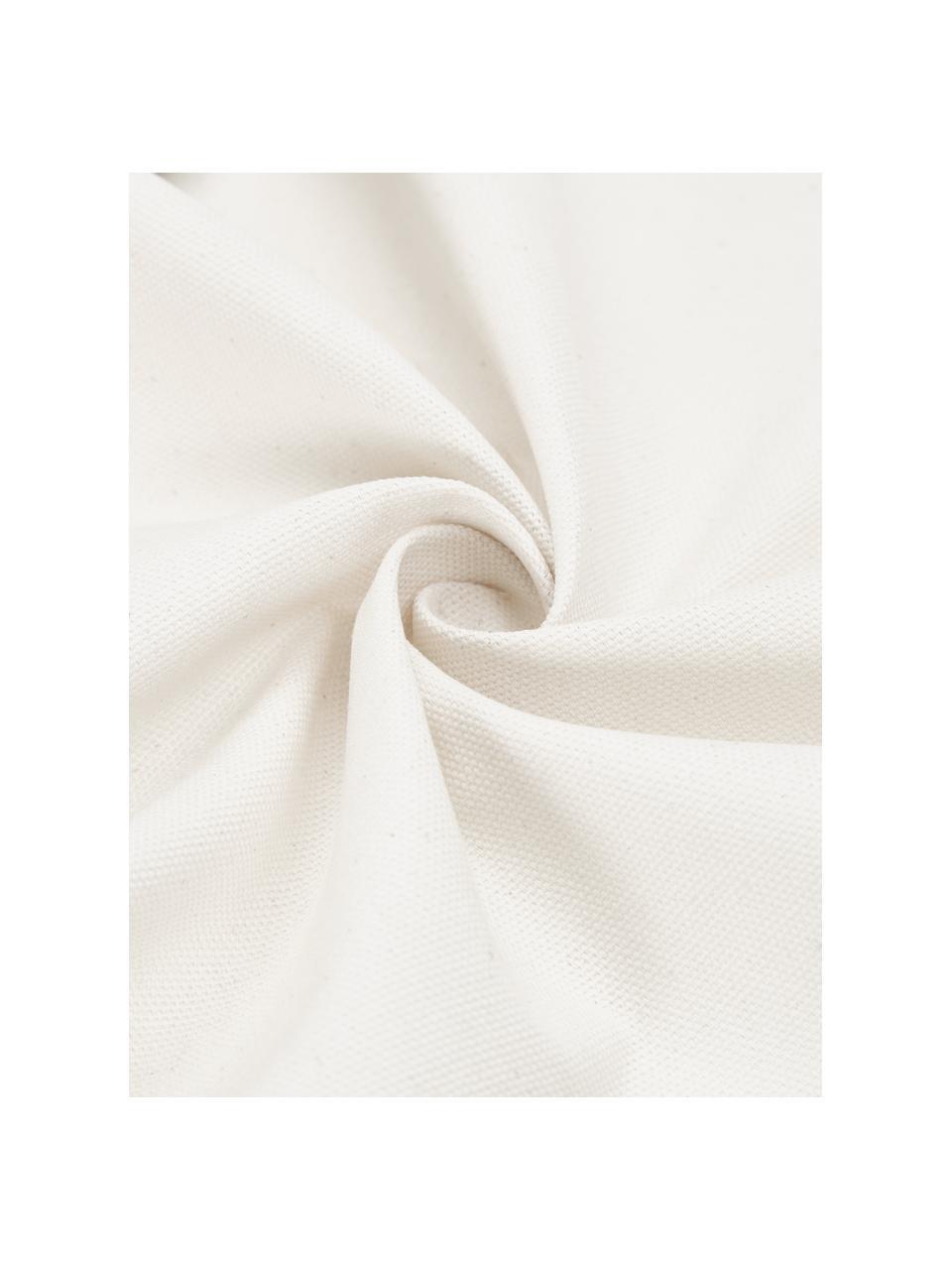 Gestreifte Kissenhülle Raji in Cremeweiß/Schwarz, 100% Baumwolle, Weiß, Schwarz, 45 x 45 cm