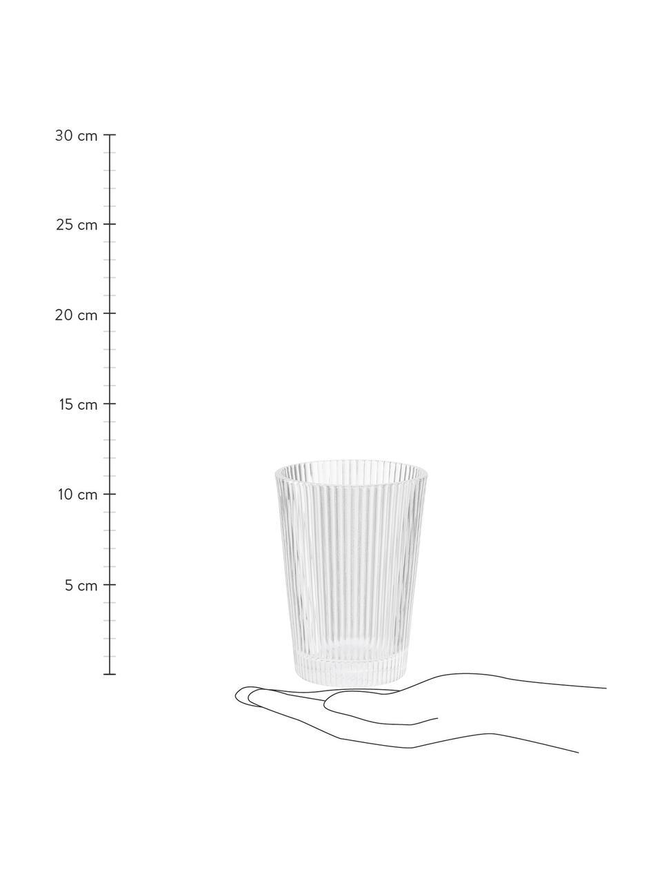 Wassergläser Pilastro mit Rillenrelief, 6 Stück, Glas, Transparent, Ø 8 x H 11 cm