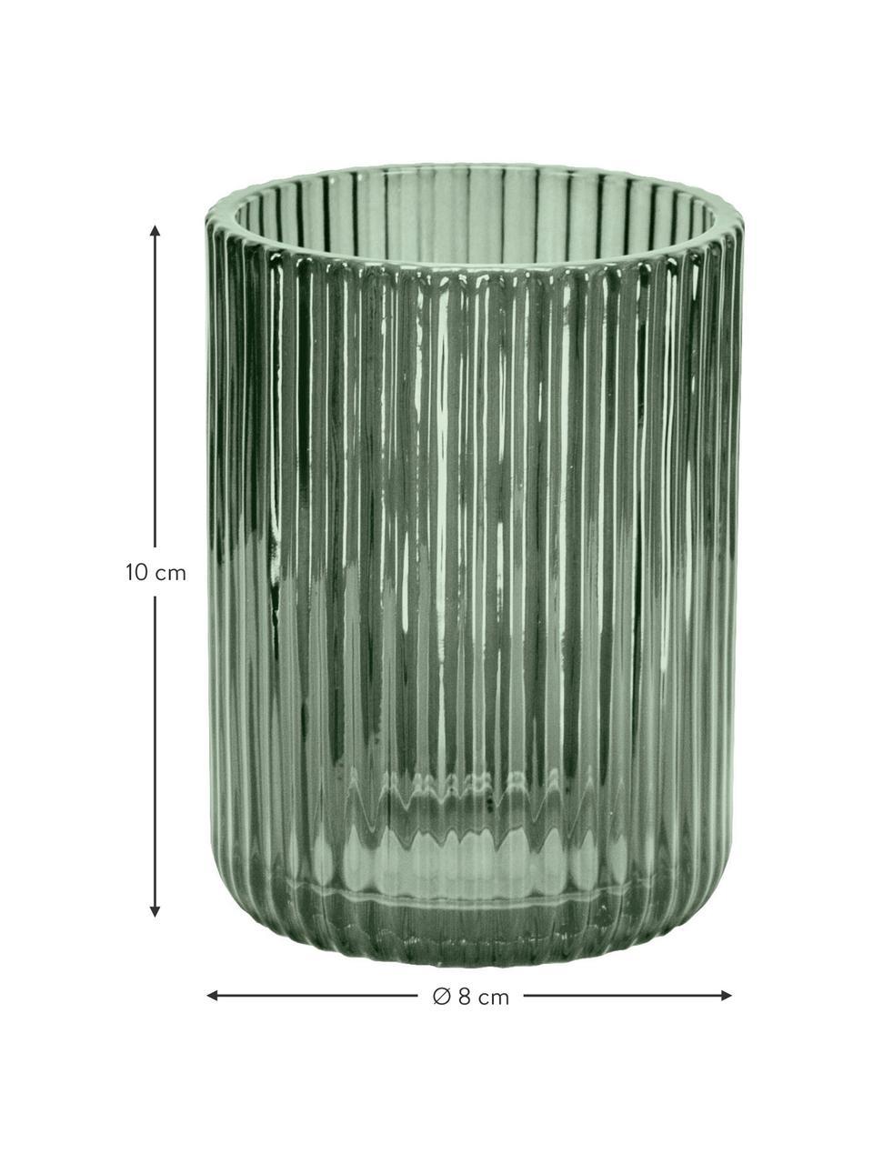 Zahnputzbecher Antoinette aus Glas, Glas, Olivgrün, Ø 8 x H 10 cm