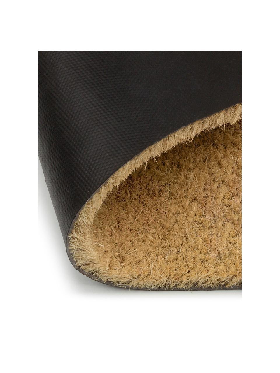 Zerbino in fibra di cocco Hello Bye, Fibra di cocco, Zerbino: beige Scritta: nero, Larg. 40 x Lung. 60 cm
