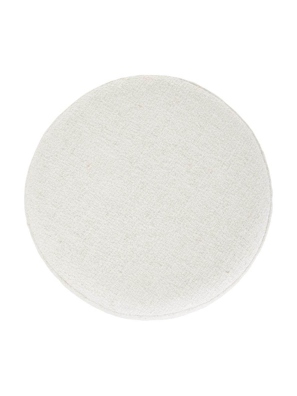 Pouf in bouclé bianco crema Orchid, Rivestimento: Bouclé (70% poliestere, 2, Cornice: compensato, Piedini: metallo verniciato a polv, Bouclé bianco crema, nero, Ø 38 x Alt. 38 cm