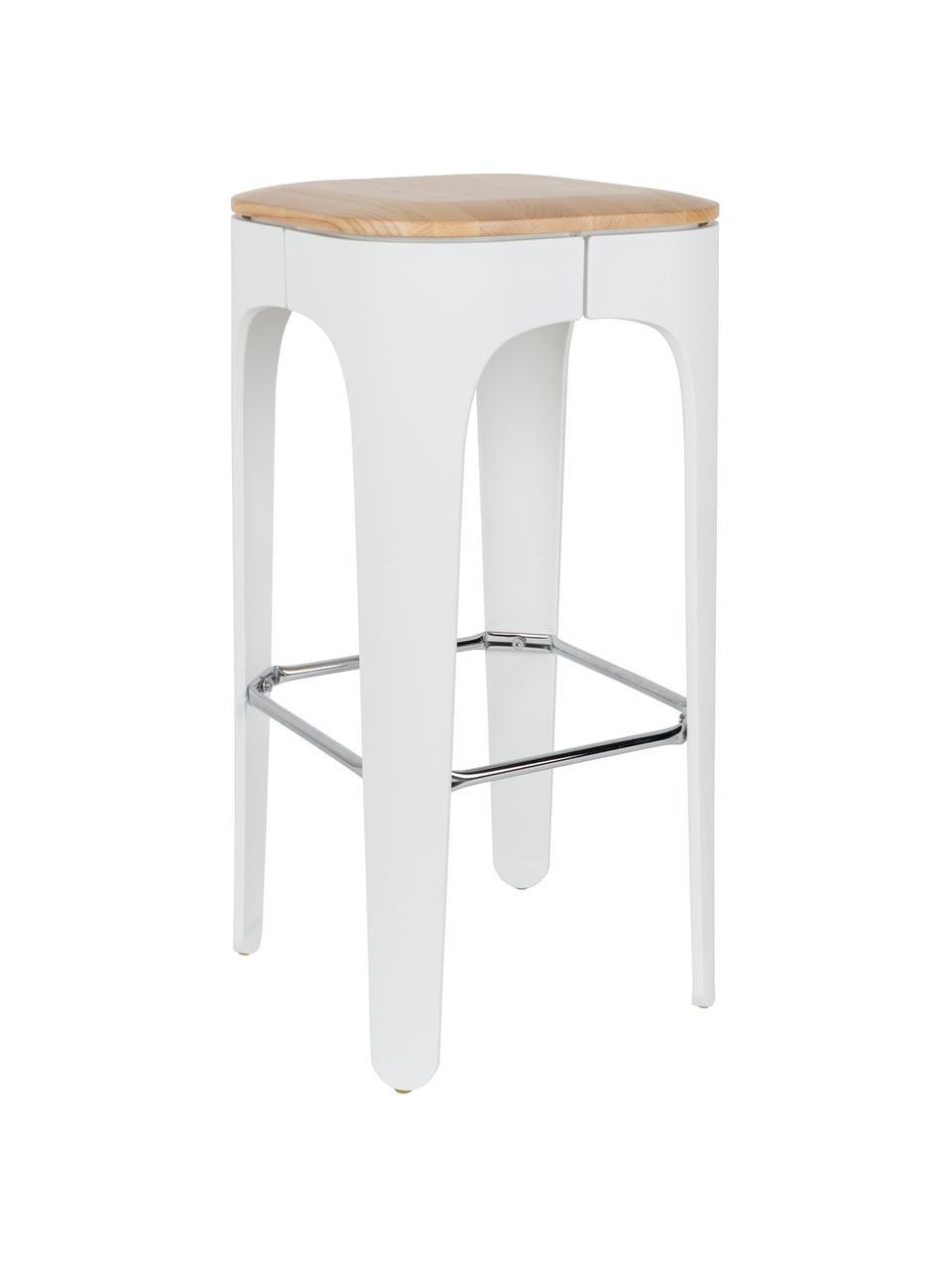 Stołek barowy Up-High, Nogi: polipropylen matowy, laki, Siedzisko: drewno jesionowe Nogi: biały Podnóżek: srebrny, S 35 x W 73 cm