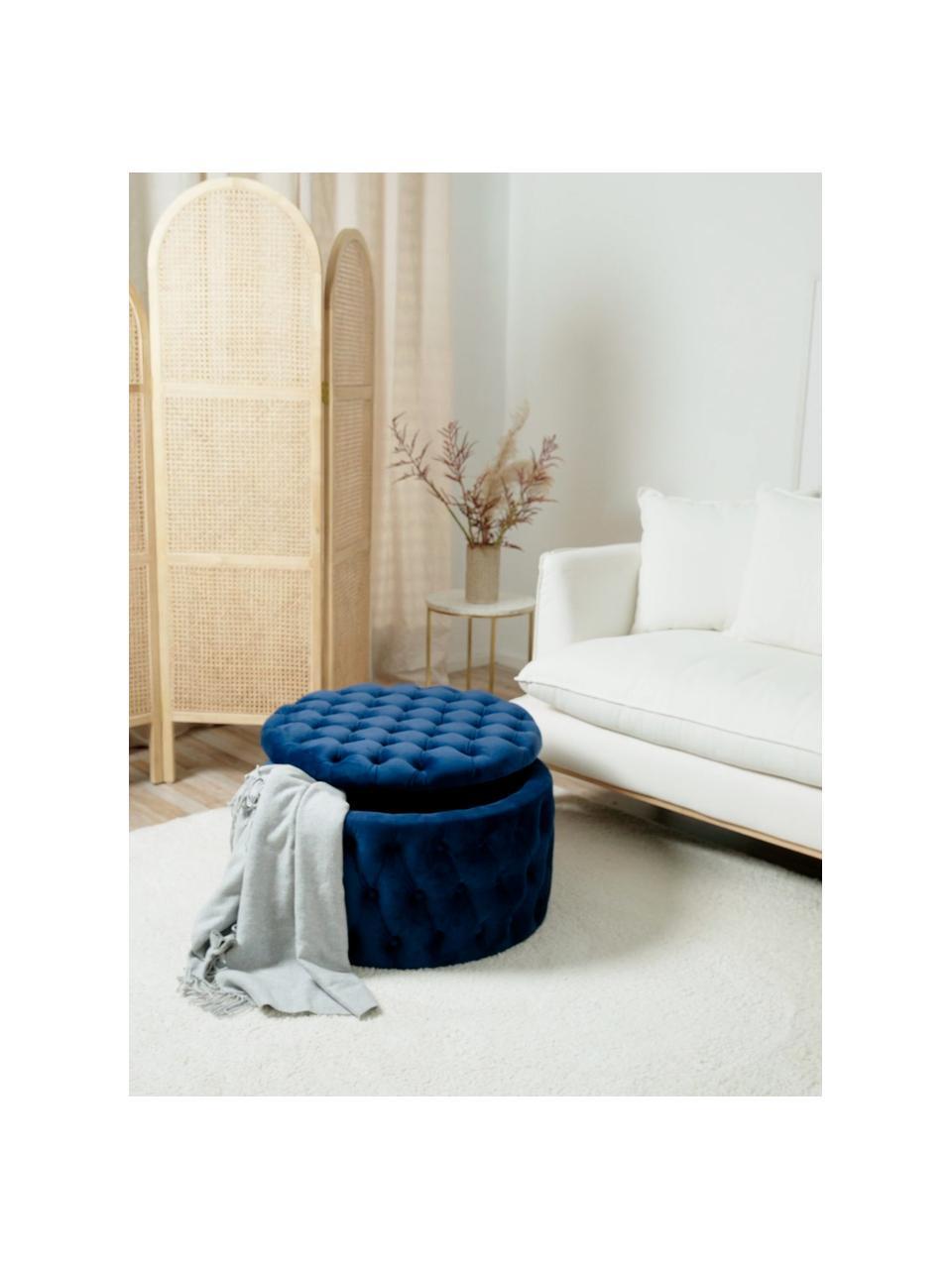 Puf XL z aksamitu ze schowkiem Chiara, Tapicerka: aksamit (poliester) Dzięk, Korpus: drewno eukaliptusowe, Niebieski, ∅ 70 x W 42 cm