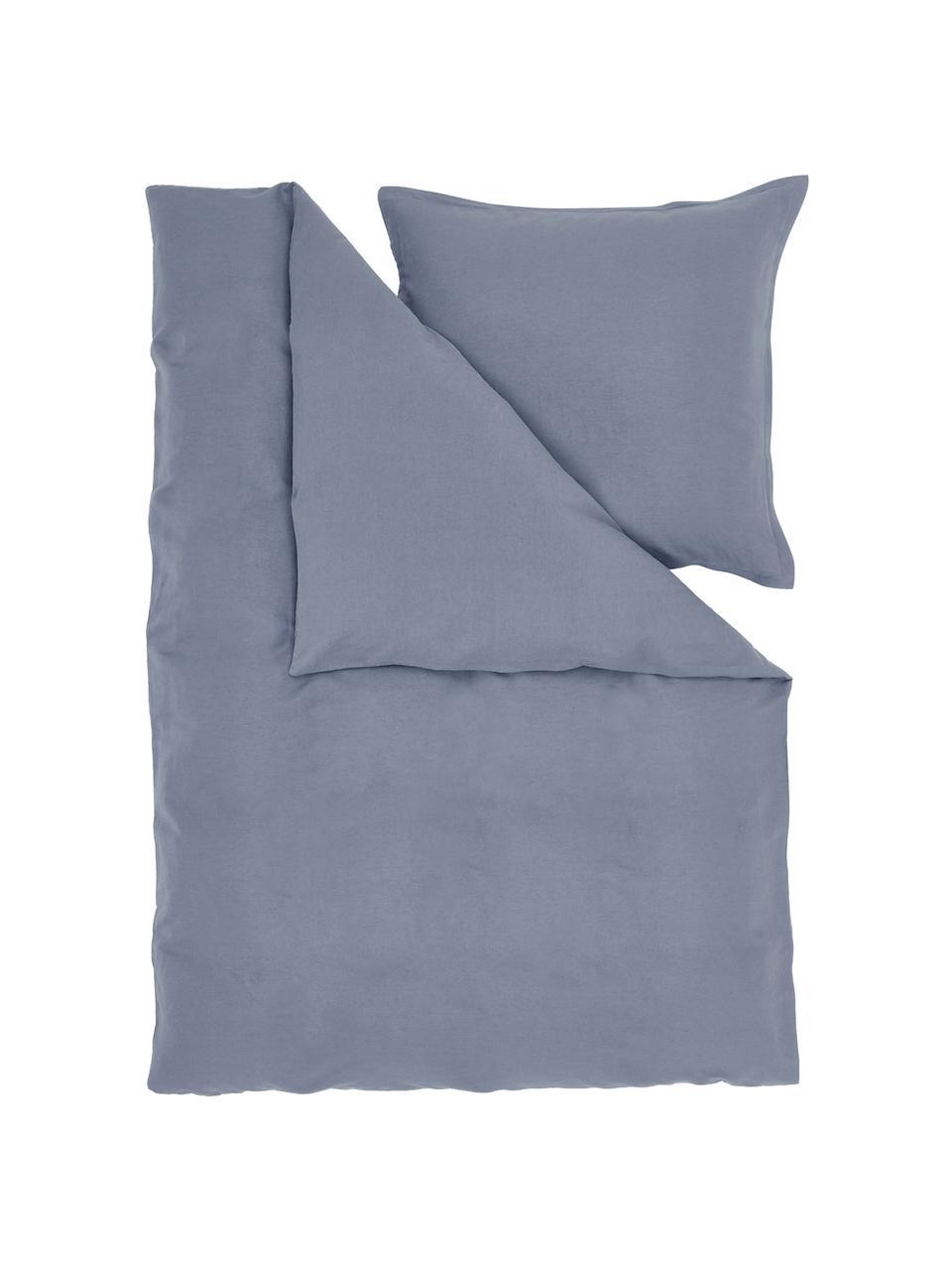 Pościel z lnu z efektem sprania Nature, Niebieski, 135 x 200 cm + 1 poduszka 80 x 80 cm